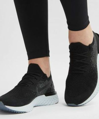 NIKE EPIC REACT FLYKNIT  RUNNING AND TRAINING SHOES (BLACK).