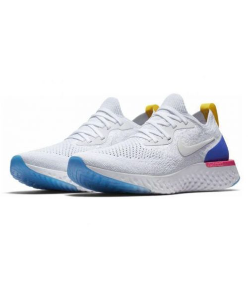 NIKE EPIC REACT FLYKNIT  RUNNING AND TRAINING SHOES (WHITE).