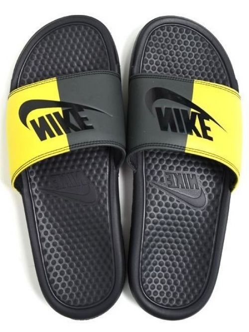 Nike Printed Benassi JDI Slipper  Flip Flop(YELLOW & BLACK)